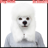 Top Grade 100 Latex Deluxe Christmas New Year Carnival Party Dog Mask Halloween Accessory Latex White
