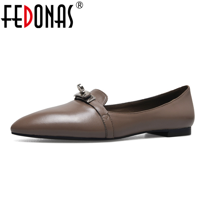 FEDONAS New Women Genuine Leather Luxury Fashion Flats Shoes Woman Casual Loafers Brand High Quality Flats Loafer Shoes Flat 2018 new genuine leather flat shoes woman ballet flats loafers cowhide flexible spring casual shoes women flats women shoes k726