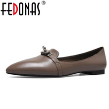FEDONAS  New Women Genuine Leather Luxury Fashion Flats Shoes Woman Casual Loafers Brand High Quality Flats Loafer Shoes Flat(China)
