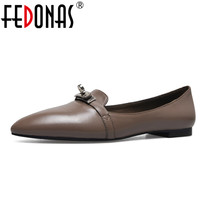 FEDONAS New Women Genuine Leather Luxury Fashion Flats Shoes Woman Casual Loafers Brand High Quality Flats Loafer Shoes Flat