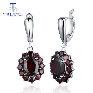 Image 1 - TBJ,natural gemstone black garnet earrings 925 sterling silver fine jewelry for woman birthday party & daily wear nice gift