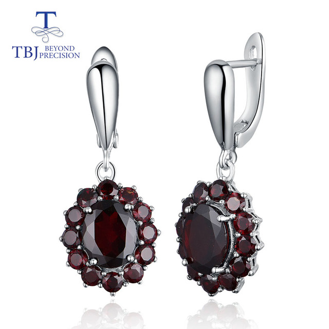 TBJ,natural gemstone black garnet earrings 925 sterling silver fine jewelry for woman birthday party & daily wear nice gift