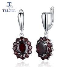TBJ, naturalny kamień szlachetny czarny granat kolczyki 925 srebro fine jewelry dla kobiety birthday party i odzież na co dzień fajny prezent