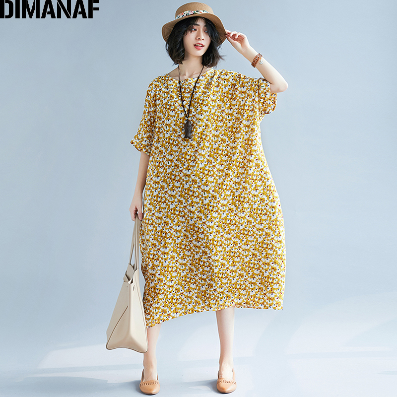4294396628d DIMANAF Women Dress Summer Plus Size Linen Female Prairie Chic Floral  Vintage Lady Vestidos Loose Large Cloting Long Dress 2018-in Dresses from  Women s ...