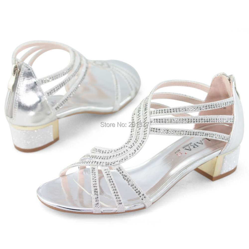 LARAs Ladies Womens Medium Kitten Low Heels Sandals Wedding Bridal Dress  Shoes Silver Gold Rhinestone Summer Diamond Glitter New In Womenu0027s Sandals  From ...