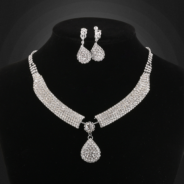 Wedding Bridal Jewelry Sets Heart Pendant Necklace Clip Earrings Femme Pretty Multilayer Rhinestone
