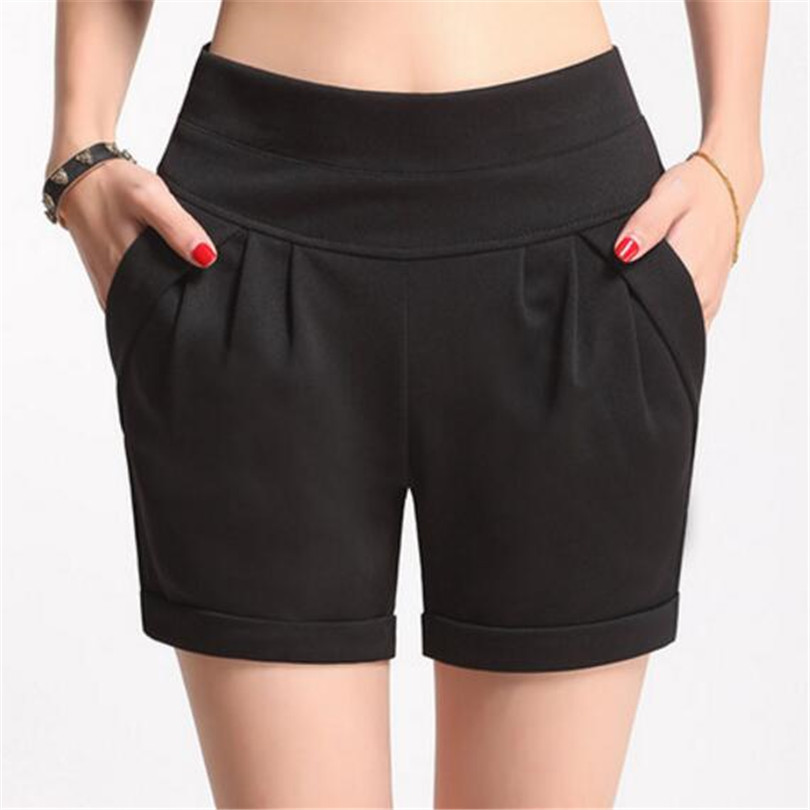 YRRETY TOP 2018 Women   Shorts   Summer Chiffon Loose Cotton Casual Thin High Waist Belt Black Khaki Plus Size S-4XL Women   Shorts