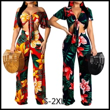 2 Colors Womens Fashion High Quality Tie Wrapped Chest Sexy Digital Flower Print Two-piece Suit Sets for Women Holiday S-2XL