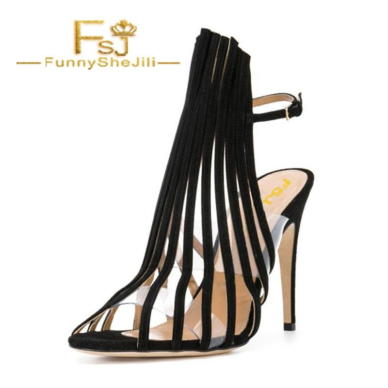 D'été Fsj Fsj01 Cheville Noble Sexy Stiletto Attrayant Mode Incomparable Out Noir Généreux Sangle Creux De Élégant Talons Sandales wfcqaTpWq