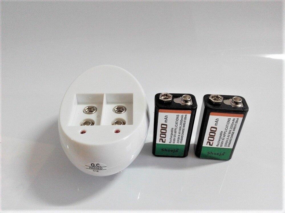2 Pcs/lot 9v batterie rechargeable grande capacité 2000mah 9V NiMH batterie + universel 9v AA AAA 18650 14500 CR123A chargeur set