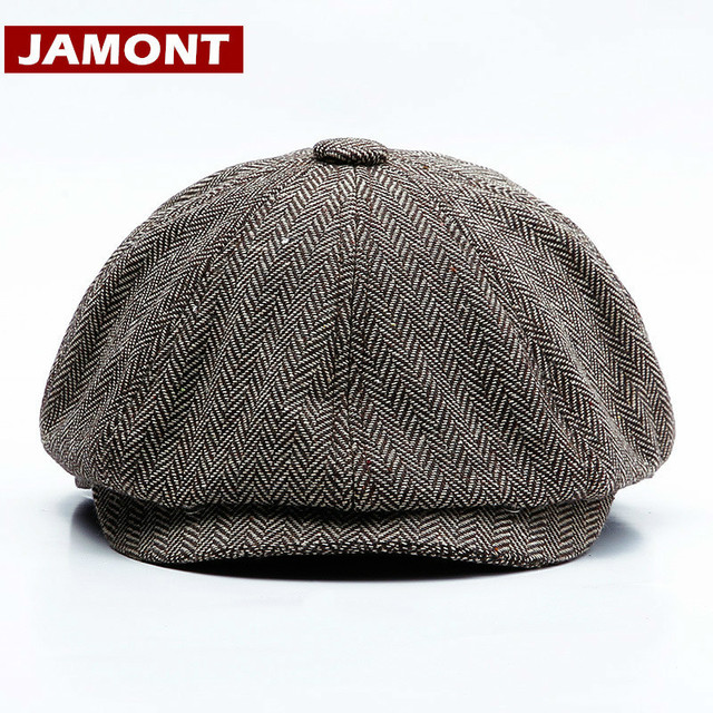 5ce02a905a1 JAMONT 2018 Autumn Winter Cap Men Women Newsboy Caps Vintage Beret Hat  Octagonal Striped Artist Hats British Style Gorras