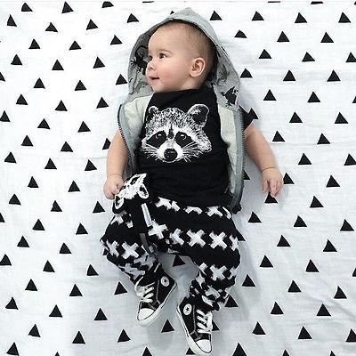 New Summer Autumn Baby clothing Boys short Sleeve Shirt Pants 2pc Gary Fox Girls Casual set Baby Clothing