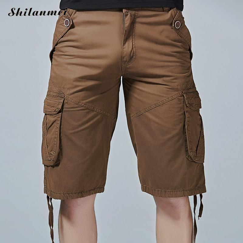 2018 Casual Shorts Men Tassel Middle Waist Mens Shorts Loose Black Solid MenS Shorts Zipper Multi-Pocket Male Pantalon Khaki