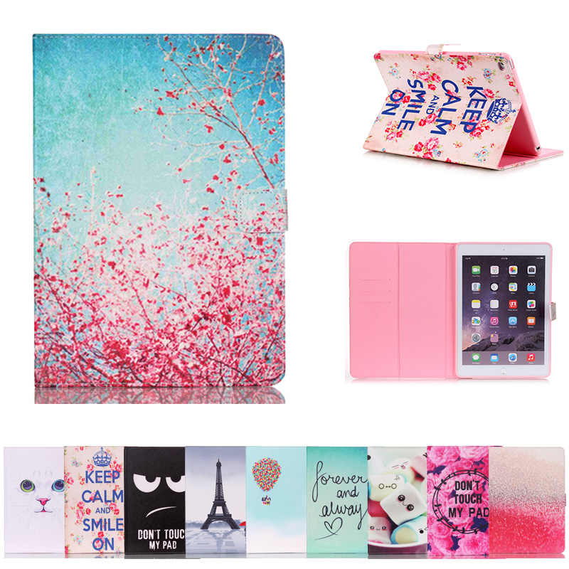 For IPad Air 2 Case Funda Silicone Soft Back Painted Slim Pu Leather Smart Cover Case for IPad 6th Generation Case A1566 A1567