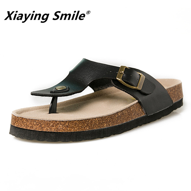 ee60c76e1 Men summer shoes plus size 35-44 leisure cork slippers fashion couple  slippers flip-flops comfortable footwear sandals