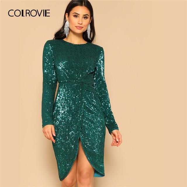 COLROVIE Green Twist talia tulipan Hem cekinowa sukienka na przyjęcie kobiety 2019 wiosna z długim rękawem elegancka obcisła sukienka Sexy Midi sukienka