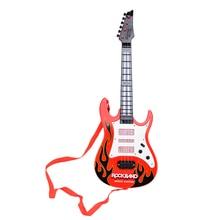 Купить с кэшбэком New Hot Rock Band Music Electric Guitar 4 Strings Kids Musical Instruments Educational Toys For Children Birthday Gift