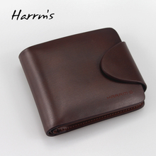 Harrms brand 2017 Men's short style brown color cowhide men wallets male genuine leather wallets with gold metal hasp