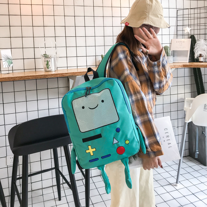Fashion Cute Cartoon Robot Unisex Canvas Backpacks 2019 New Arrivals Casual Basic Students School Bags Shoulder Bags