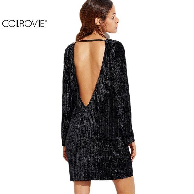 Preferenza COLROVIE Nero Aperto Indietro Vestito di Velluto A Coste Autunno  OX58