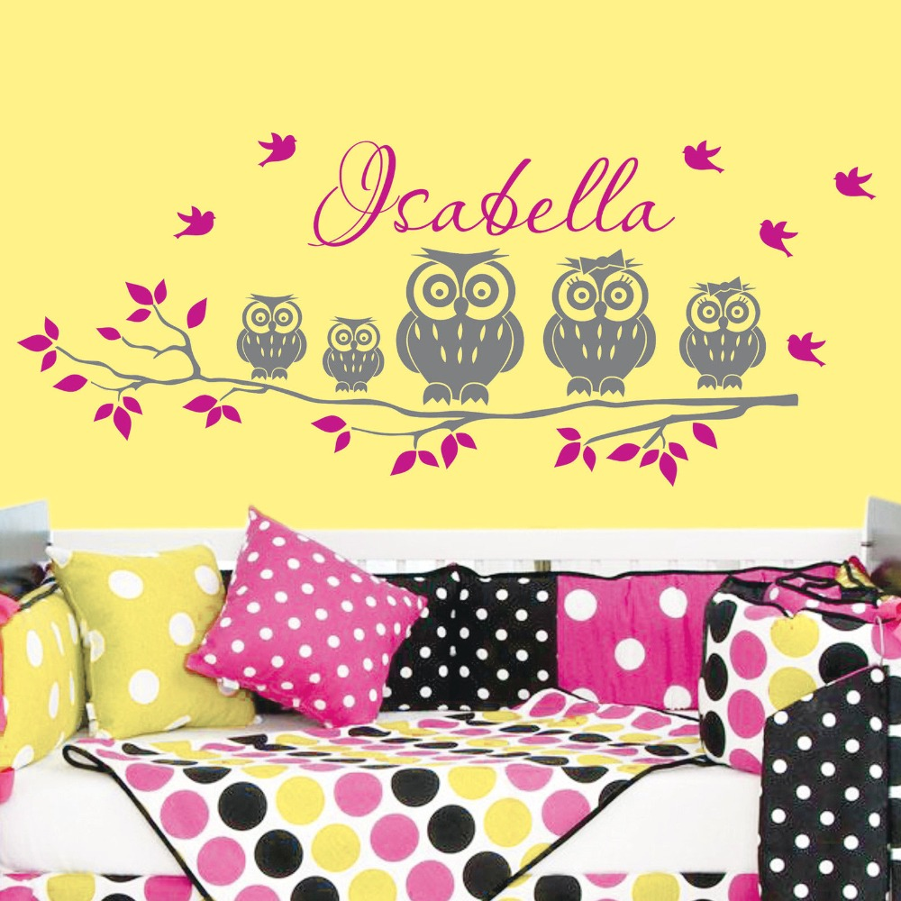 57x120cm Custom Kids Name Tree Owl Family Birds Vinyl Wall Decals ...
