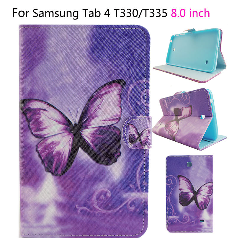 Tablet Funda Case For Samsung Galaxy Tab 4 8.0 T330 T331 T335 Case Cover Fashion Painted Flip Silicon PU Leather Shell luxury pu leather silicon case for samsung galaxy tab 3 8 0 sm t310 t311 t315 case cover funda fashion tablet flip stand shell