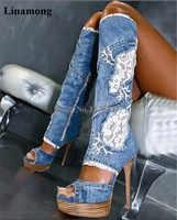 女性のセクシーな新しいファッションピープトウブルーデニムニーハイ薄いヒールグラディエーターブーツレースメッシュプラットフォームロングブーツ高ヒールジャンブーツ