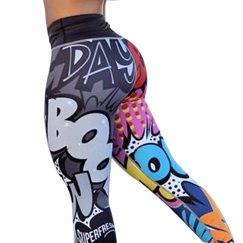 CHRLEISURE Femmes Impression Numérique Leggings Workout Leggings Taille Haute Push Up Leggins Mujer Fitness Leggings Femmes Pantalons