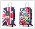 Unisex 20Inch Vintage Suitcase On Wheels/Retro British Style Rolling Luggage Mala/Cartoon Hardside Spinner Travel Trolley Case