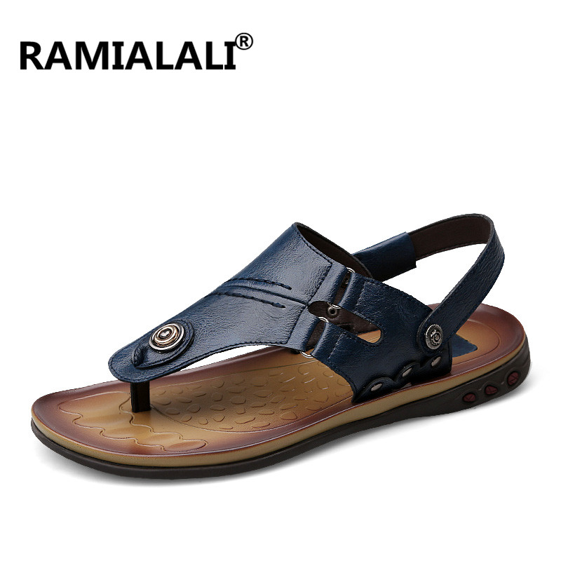 96dc55d1b59 Ramialali Genuine Leather Men Sandals Summer Cow Leather New for Beach Male  Shoes Mens Gladiator Sandal Big Size 37-47