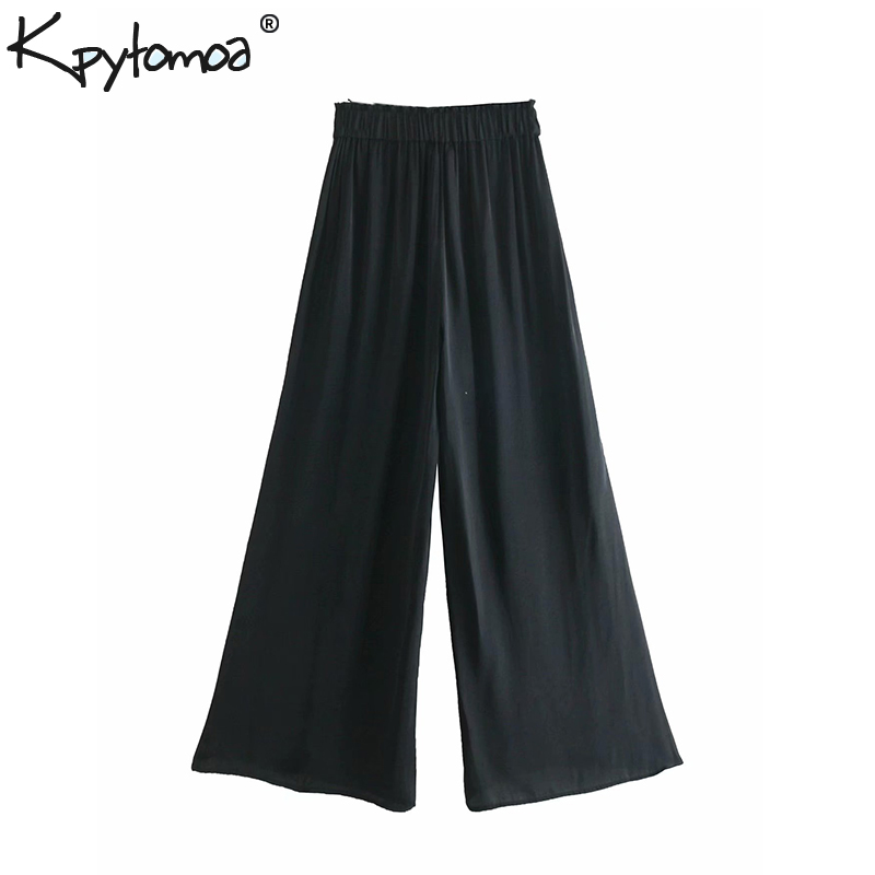 Vintage Soft Touch Solid   Wide     Leg     Pants   Women 2019 Fashion Elastic Waist Pockets Loose Ankle Trousers Casual Pantalon Mujer