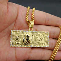 """Stainless Steel Gemetric Square One Million Dollars Pendant Necklace """"I am very rich"""" Men Hip Hop Rapper Jewelry 24"""" Gold Chain"""