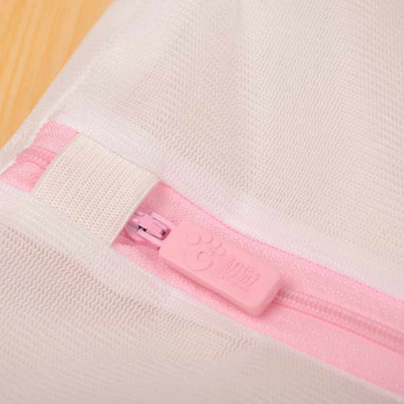 Saco com zíper Dobrável Clothes Wash Lavanderia Lingerie Meias Roupa Interior Saco de Lavagem Início Wash Saver Malha Net Net 30x40 CM