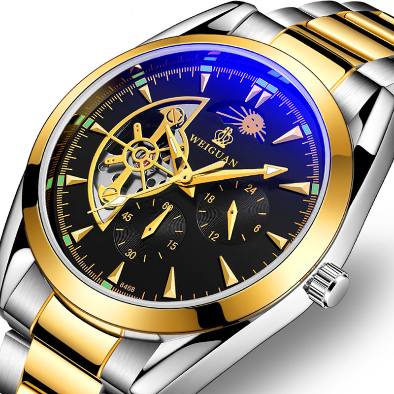 Luxury Brand Gold Men Watches Tourbillon Automatic Mechanical Watchs Casual Clock Waterproof Moon Phase Watch
