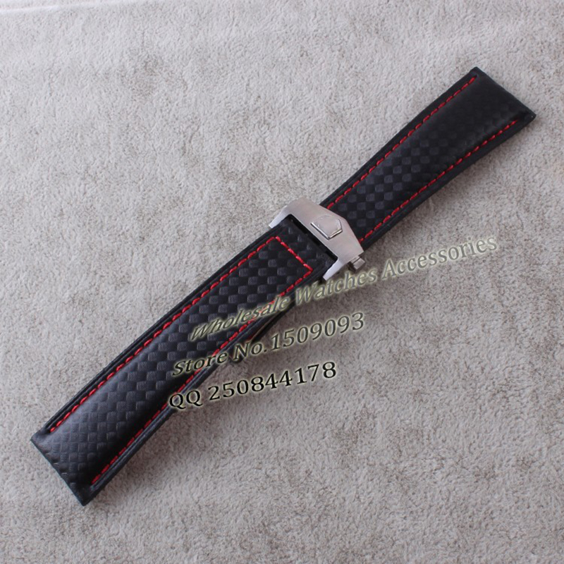 promotion Carbon +Leather straps with silver stainless steel folding buckle deployment red stitched 20 22mm watchbands