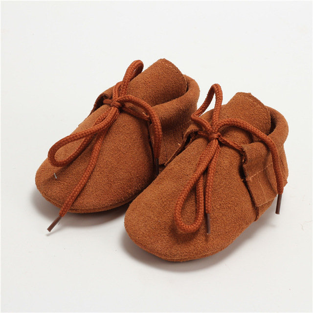 Genuine Leather Baby moccasins Tassel Baby shoes Suede soft bottom Baby boys Shoes lace-up First Walkers Free shipping