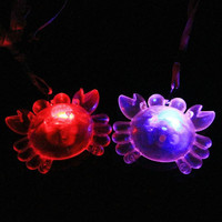 Cartoon Clear Crab LED Flashing Necklace Pendants Children Light Up Toys Gift Birthday Glow Party Christmas Navidad New Year