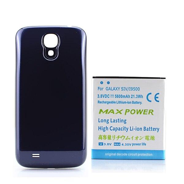Высокое качество 5600 мАч Расширенный телефон Батарея для Samsung Galaxy S4 i9500 + синий чехол для Samsung Galaxy S4 i9500 i9505