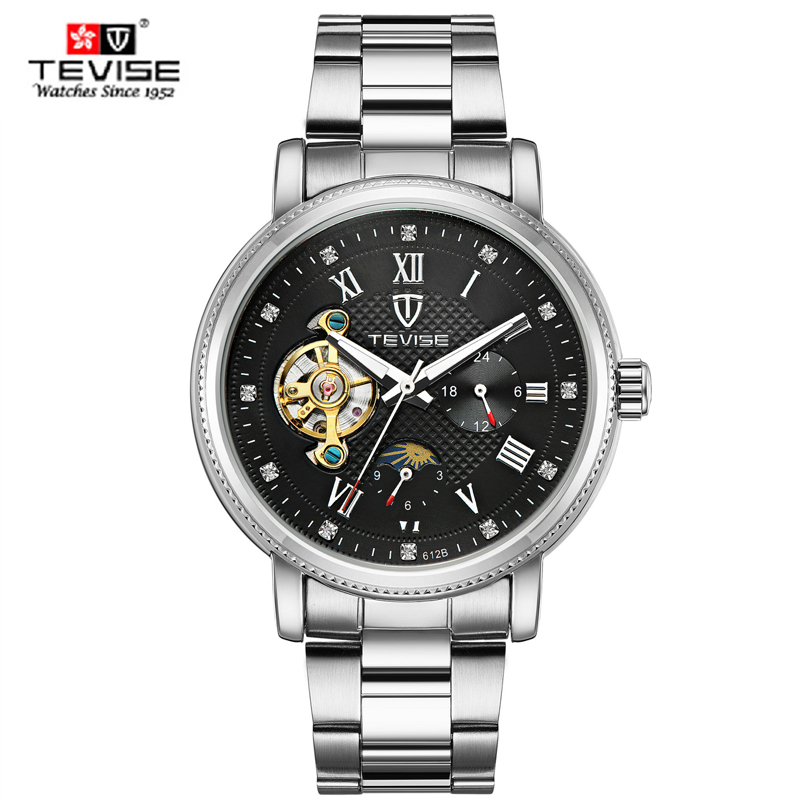 Tevise Brand Men Mechanical Wristwatch Luxury Clocks Fashion Man Watches Automatic Watch Montre Homme Relogio Masculino 2017 New jaragr fashion square dial men s day month automatic mechanical watch reloj male wristwatch montre homme