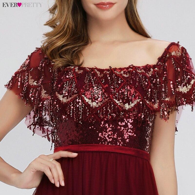 Robes de bal de luxe femmes bordeaux robes de soirée a-ligne hors de l'épaule volants gland Sexy paillettes robes formelles Gala Jurken - 5
