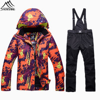 Saenshing Winter Ski Suit Men Women Waterproof 10K Super Warm Snow Jacket Snowboard Pant Breathable Mountain