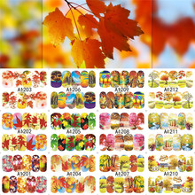 12Designs Autumn Maple Leaf Landscape Design Decals Nail Art Water Transfer Stickers Full Wraps Nail Tips Decor LAA1201-1212