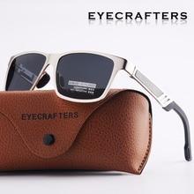 Eyecrafters Designer Men's Aluminum Polarized Sunglasses Retro Vintage Square Eyewear Mens Driving Mirrored Sun Glasses SilvBla