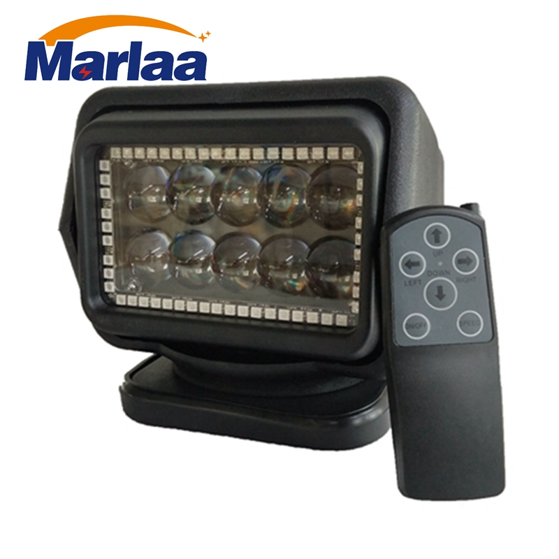 Marlaa 1pcs 360 degree Rotate 7inch RGB Led Search Light Wireless remote 50w Flashing spotlight for Off road Boats 4x4 truck 4WD