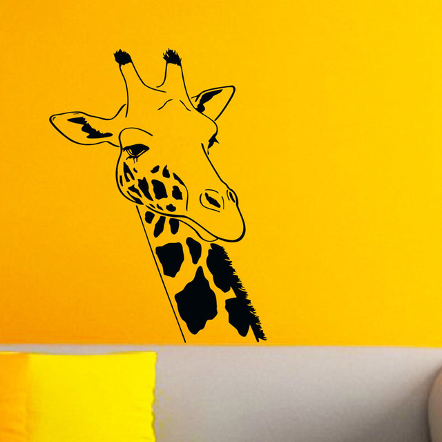 Giraffe Head Silhouette Wall Stickers Wild Animal Home Decor DIY ...
