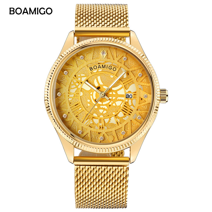 men quartz watches BOAMIGO brand luxury gold men dress watch skeleton dial watches mesh band wristwatches hot gift clcok relogio