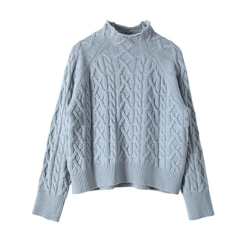 Delle white Abbigliamento Della khaki 2018 Versatile Collo Nuovo Misto Femminile Retrò red Blue Camicia Maglione Donne Alto Di A Lana wqHvZw