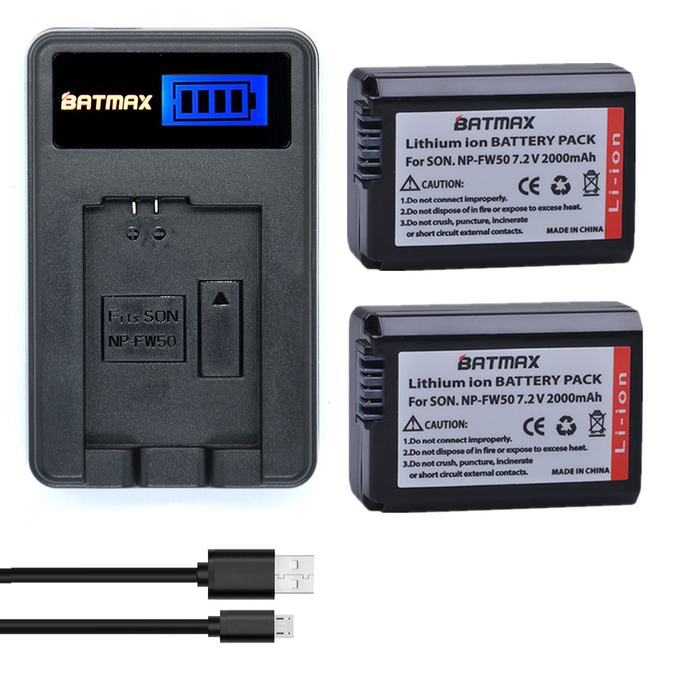 Galleria fotografica Batmax 2xNP-FW50 NP FW50 NPFW50 Camera Battery+LCD USB Charger for SONY A5000 A6000 NEX 5D NEX-5C NEX-3C NEX5 Camera batterias