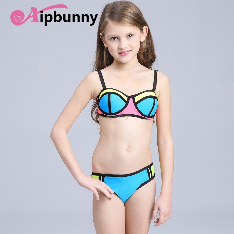 Aipbunny 2018 New Summer Candy Color Neoprene Swimsuit Todder Girls Split Two-pieces Bathing Suits Swimwear Children bikinis ...