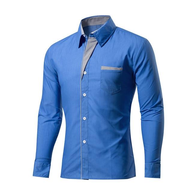 2018 New Fashion Brand Camisa Masculina Long Sleeve Shirt